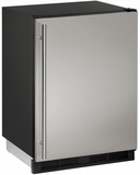 """CO1224FS00B U-Line 1000 Series 24"""" Wide Combo Refrigerator & Ice Maker Holds up to 62 Bottles - Field Reversible - Stainless Steel"""