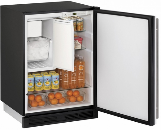 "CO1224FW00B U-Line 1000 Series 24"" Wide Combo Refrigerator & Ice Maker Holds up to 62 Bottles - Field Reversible - White"