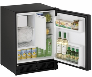 "CO29FB-00A U-Line 21"" Wide ADA Series Combo Undercounter Refrigerator & Ice Maker - Field Reversible - Black"