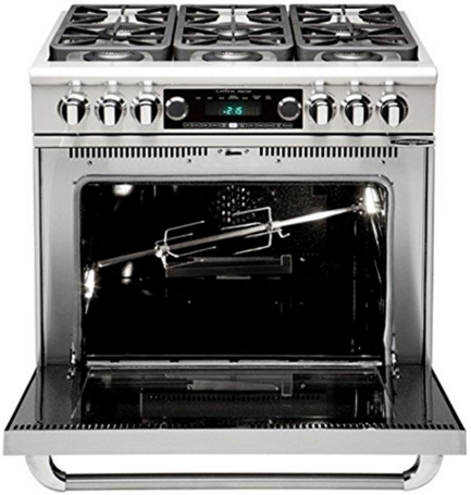 "COB362B2N Capital 36"" Connoisseurian Dual Fuel Self-Clean Range with 4 Open Burners + 12"" Broil Burner with Commercial Grates - Natural Gas - Stainless Steel"