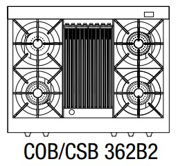 """COB362B2LP Capital 36"""" Connoisseurian Dual Fuel Self-Clean Range with 4 Open Burners + 12"""" Broil Burner with Commercial Grates - Liquid Propane - Stainless Steel"""
