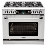 """COB362B2N Capital 36"""" Connoisseurian Dual Fuel Self-Clean Range with 4 Open Burners + 12"""" Broil Burner with Commercial Grates - Natural Gas - Stainless Steel"""