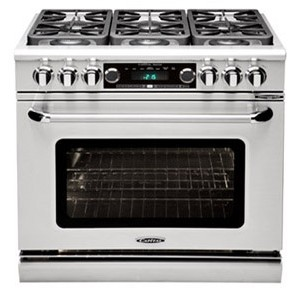 """COB362G2LP Capital 36"""" Connoisseurian Dual Fuel Self-Clean Range with 4 Open Burners + 12"""" Thermo-Griddle - Liquid Propane - Stainless Steel"""