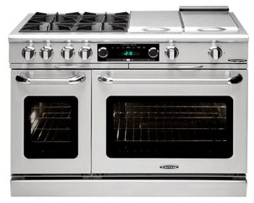 "COB482BG2N Capital 48"" Connoisseurian Dual Fuel Self-Clean Range with 4 Open Burners + 12"" Broil Burner + 12"" Thermo Griddle - Natural Gas - Stainless Steel"