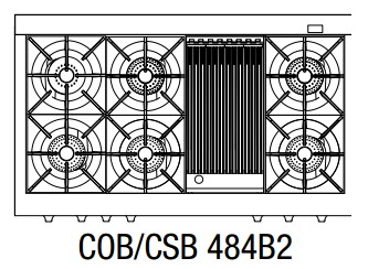 """COB484B2N Capital 48"""" Connoisseurian Dual Fuel Self-Clean Range with 6 Open Burners + 12"""" Broil Burner with Commercial Grates - Natural Gas - Stainless Steel"""