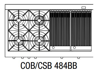 """COB484BBLP Capital 48"""" Connoisseurian Dual Fuel Self-Clean Range with 4 Open Burners + Two 12"""" Broil Burners with Commercial Grates - Liquid Propane - Stainless Steel"""
