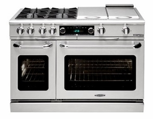 """COB484G24LP Capital 48"""" Connoisseurian Dual Fuel Self-Clean Range with 4 Open Burners + 24"""" Thermo Griddle - Liquid Propane - Stainless Steel"""