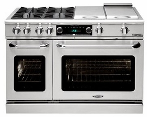 """COB484G2N Capital 48"""" Connoisseurian Dual Fuel Self-Clean Range with 6 Open Burners + 12"""" Thermo Griddle - Natural Gas - Stainless Steel"""