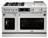 "COB484G2N Capital 48"" Connoisseurian Dual Fuel Self-Clean Range with 6 Open Burners + 12"" Thermo Griddle - Natural Gas - Stainless Steel"