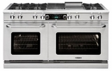 """COB604B4N Capital 60"""" Connoisseurian Dual Fuel Self-Clean Range with 8 Open Burners + 12"""" Broil Burner with Commercial Grates - Natural Gas - Stainless Steel"""