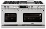 """COB604BB2LP Capital 60"""" Connoisseurian Dual Fuel Self-Clean Range with 6 Open Burners + Two 12"""" Broil Burners with Commercial Grates - Liquid Propane - Stainless Steel"""