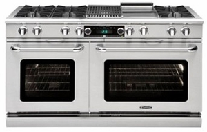 "COB604G4LP Capital 60"" Connoisseurian Dual Fuel Self-Clean Range with 8 Open Burners + 12"" Thermo Griddle - Liquid Propane - Stainless Steel"