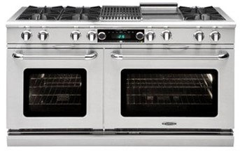 "COB604GG2LP Capital 60"" Connoisseurian Dual Fuel Self-Clean Range with 6 Open Burners + 24"" Thermo Griddle - Stainless Steel"