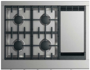 "CPV2364GDLN Fisher & Paykel 36"" Wide Professional Cooktop with 4 Burners and Griddle - Liquid Propane - Stainless Steel"