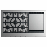 "CPV2485GDL DCS 48"" Professional Cooktop with 5 Burners and Griddle - Liquid Propane - Stainless Steel"