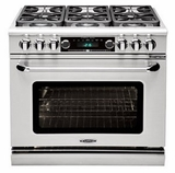 """CSB362G2LP Capital 36"""" Connoisseurian Dual Fuel Self-Clean Range with 4 Sealed Burners + 12"""" Thermo-Griddle - Liquid Propane - Stainless Steel"""