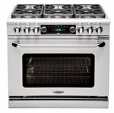 """CSB362G2N Capital 36"""" Connoisseurian Dual Fuel Self-Clean Range with 4 Sealed Burners + 12"""" Thermo-Griddle - Natural Gas - Stainless Steel"""