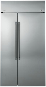 "CSB42WSKSS GE Cafe 42"" Built-In Side-by-Side Refrigerator with  Upfront Electronic Digital Temperature Display - Stainless Steel"