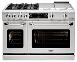 "CSB484B2N Capital 48"" Connoisseurian Dual Fuel Self-Clean Range with 6 Sealed Burners + 12"" Broil Burner with Commercial Grates - Natural Gas - Stainless Steel"
