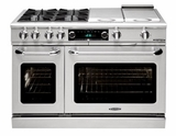 "CSB484GGLP Capital 48"" Connoisseurian Dual Fuel Self-Clean Range with 4 Sealed Burners + 24"" Thermo Griddle - Liquid Propane - Stainless Steel"