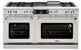 """CSB606GGN Capital 60"""" Connoisseurian Dual Fuel Self-Clean Range with 6 Sealed Burners + 24"""" Thermo Griddle - Natural Gas - Stainless Steel"""