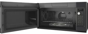 """CVM9179ELDS GE 30"""" Cafe Series 1.7 cu. ft. Convection Over-the-Range Microwave Oven with Steam Cook Button and LED Cooktop Lighting - Black Slate"""