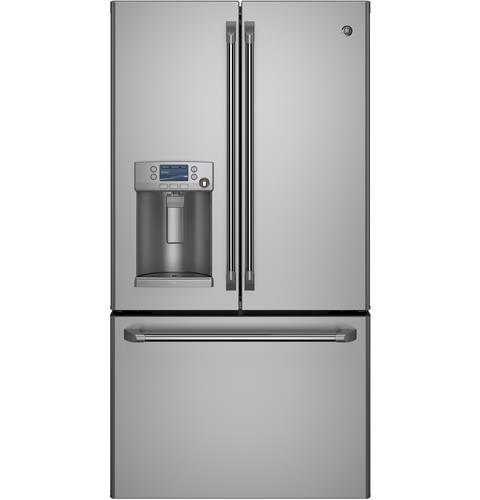 CYE22TSHSS Cafe 22.1 Cu. Ft. Counter Depth French-Door Refrigerator with Hot Water Dispenser and Smart Home Enabled with Wi-Fi - Stainless Steel