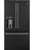 """CYE22UELDS GE Cafe Series 36"""" Energy Star 22.2 Cu. Ft. Counter-Depth French-Door Refrigerator with Keurig K-Cup Brewing System - Black Slate"""