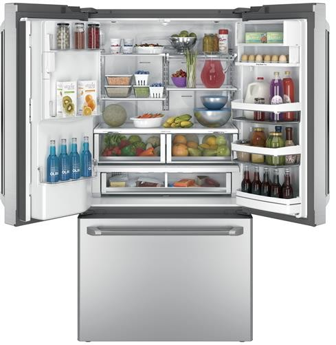 "CYE22USHSS GE Cafe 36"" Energy Star 22.2 Cu. Ft. Counter Depth French-Door Refrigerator with Keurig K-Cup Brewing System"