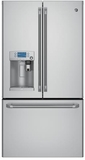 "CYE22USHSS GE Cafe 36"" Energy Star 22.2 Cu. Ft. Counter Depth French-Door Refrigerator with Keurig K-Cup Brewing System - Stainless Steel"