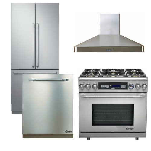 "Package D4 - Dacor Appliance Kitchen Package with Counter Depth Refrigerator and 36"" Dual Fuel Range - Stainless Steel"