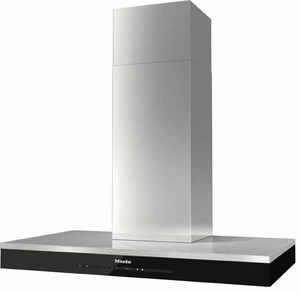 """DA6690DSS Miele 36"""" Puristic Island Hood with 625 CFM Blower - Stainless Steel with Black Glass"""