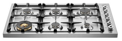 "DB36600X Bertazzoni Professional 36"" Drop-in 6-burner Gas Cooktop - Stainless Steel"