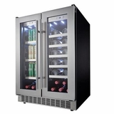 "DBC047D3BSSPR Danby 24"" Silhouette Professional LORRAINE French Door Beverage Center with White LED Interior Lighting - Stainless Steel"