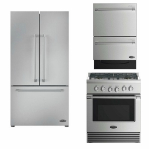 Package DCS1 - DCS Appliance Package - 3 Piece Appliance Package with Gas Range - Stainless Steel