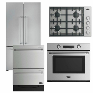 Package DCS3 - DCS Appliance Package - 4 Piece Appliance Package with Gas Cooktop- Stainless Steel