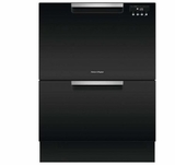 "DD24DAB9N 24"" Fisher & Paykel Full Console Double Drawer Dishwasher with Quick Wash and 2 Cutlery Basket - Black"