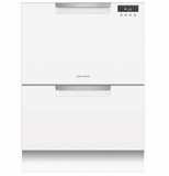 "DD24DAW9N 24"" Fisher & Paykel Full Console Double Drawer Dishwasher with Quick Wash and 2 Cutlery Basket - White"