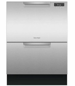 "DD24DAX9N 24"" Fisher & Paykel Full Console Double Drawer Dishwasher with Quick Wash and 2 Cutlery Basket - Stainless Steel"