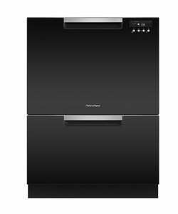 "DD24DCTB9N 24"" Fisher & Paykel Full Console Tall Double Drawer Dishwasher with Quick Wash and 2 Cutlery Basket - Black"