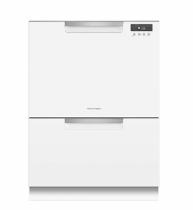 """DD24DCTW9 24"""" Fisher & Paykel Full Console Tall Double Drawer Dishwasher with Quick Wash and 2 Cutlery Basket - White"""
