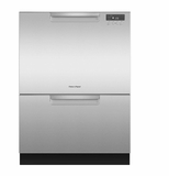 "DD24DCTX9N 24"" Fisher & Paykel Full Console Tall Double Drawer Dishwasher with Quick Wash and 2 Cutlery Basket - Stainless Steel"
