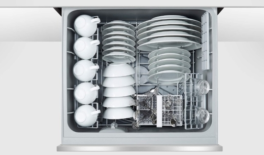 "DD24SCHTX9N 24"" Fisher & Paykel Full Console Single Tall Drawer Dishwasher with Child Lock, 2 Cutlery Basket and Built-In Water Softner  - Stainless Steel"