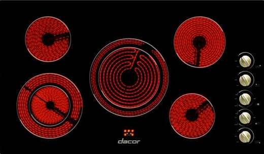 "DECT365B Dacor 36"" Distinctive Electric 5 Element Cooktop - Black"