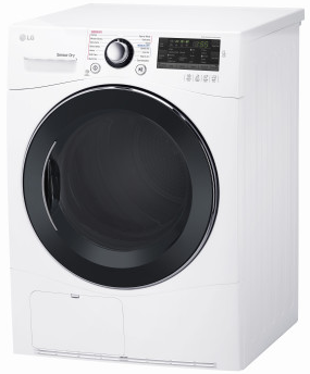 """DLEC888W LG 24"""" 4.2 cu.ft Compact Electric Condensing Dryer with Smart ThinQ Technology and 14 Dryer Programs - White"""