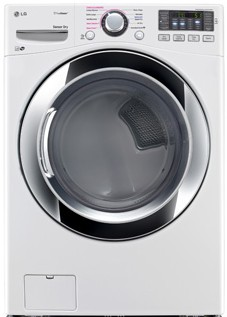 DLEX3370W LG 7.4 Cu. Ft. Ultra Large Capacity Steam Electric Dryer with NFC Tag On Technology - White