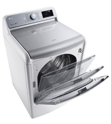 DLEX7700WE LG 9.0 Cu. Ft. Mega Capacity TurboSteam Dryer with EasyLoad Door - White