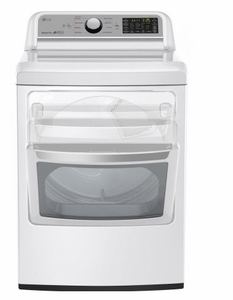 """DLG7201WE LG 27"""" 7.3 cu.ft. Super Capacity Gas Dryer with Sensor Dry Technology and EasyLoad Door - White"""