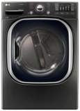 "DLGX4371K LG 27"" 7.4 cu. ft. Ultra Large High Efficiency Gas SteamDryer with SteamSanitary - Black Stainless Steel"