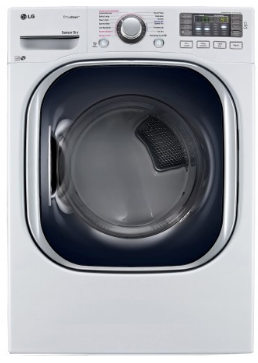"""DLGX4371W LG 27"""" 7.4 cu. ft. Ultra Large High Efficiency Gas SteamDryer with SteamSanitary - White"""